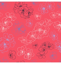 Seamless pattern of cherry blossoms vector image