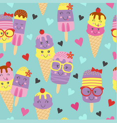 Seamless pattern with cute ice cream vector