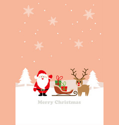 seamless winter landscape with santa claus vector image
