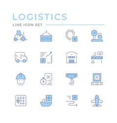 set color line icons logistics vector image