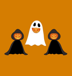 set halloween pumpkins funny faces in costume vector image