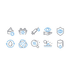 Set healthcare icons such as cold-pressed oil vector