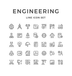 Set line icons engineering vector