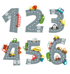 set numbers with number cars from 1 to 6 vector image