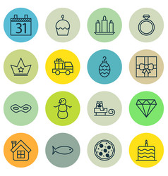 set of 16 celebration icons includes date vector image