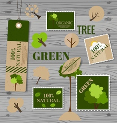 Set of nature themed labels and tags vector