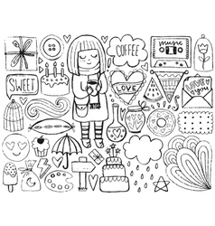 Sketch cute elements vector