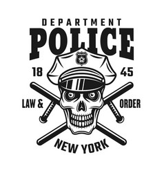 skull in police cap with batons emblem vector image