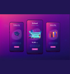 Smartcards for schools app interface template vector