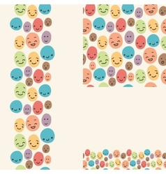 smiley faces set seamless patterns and borders vector image
