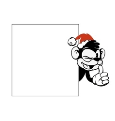 Smiley monkey head in Christmas red hat peeking vector image