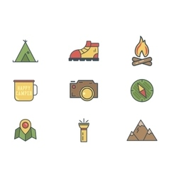 Summer and winter mountain explorer camp icons in vector image