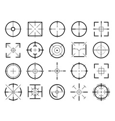 target destination signs black thin line icon set vector image
