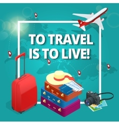 Travel concept Travel bags passport foto camera vector