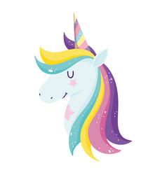 unicorn mystery rainbow horn fantasy cartoon vector image