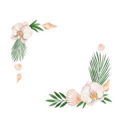 watercolor frame with tropical leaves vector image