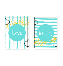 Wedding invitation set with dots and sequins vector