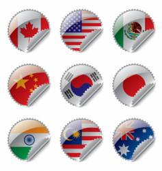 World flag labels vector