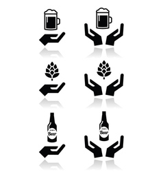 Beer bottle and glass hops with hands icons set vector image vector image