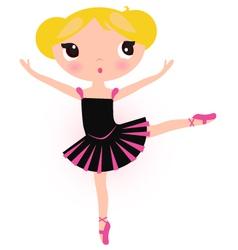 Cute ballerina blond girl isolated on white vector image