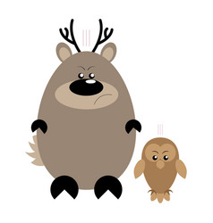 deer and owl angry vector image vector image