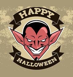 Devil Head Halloween Badge vector image