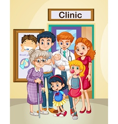 Doctor and patients at clinic vector