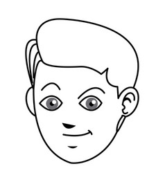 face boy young happy expression line vector image