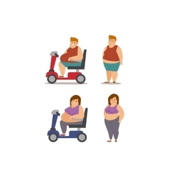Fat cartoon people different stages vector image