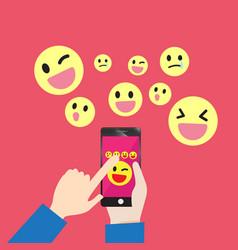 smartphone communication emoticons message vector image