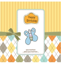 cute baby shower card with butterfly vector image