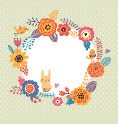 floral background wreath frame with cute birds an vector image