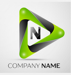 letter n logo symbol in the colorful triangle on vector image