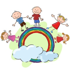 Little kids standing on the rainbow vector image
