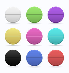 Medicinal tablets set of round flat tablets of vector