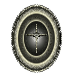 Oval silver medallion with cross vector image