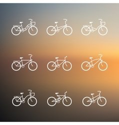 Bicycle signs set of simple bike icons vector image vector image