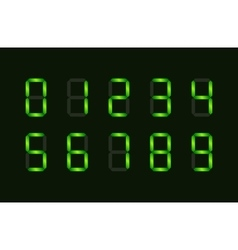 Set of green digital number signs made up from vector image vector image