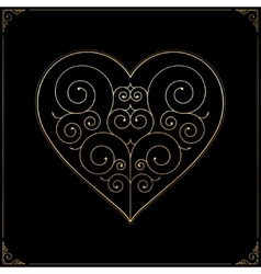 Valentines Day heart Ornate line art love symbol vector image vector image