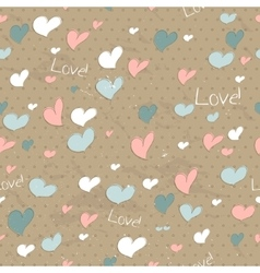 Vintage seamless texture with hearts vector image vector image