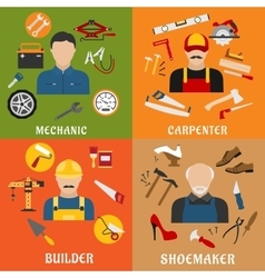 Builder carpenter mechanic and shoemaker vector image vector image