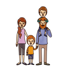 Color crayon stripe cartoon family parents with vector