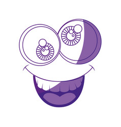 funny face crazy eyes vector image