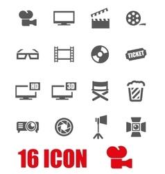 grey cinema icon set vector image vector image