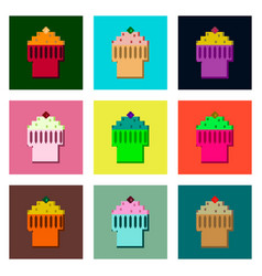 set pixel icons of fruit muffin vector image vector image