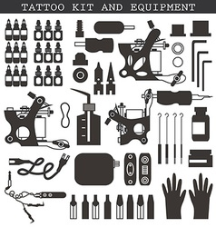 Tattoo kit and equipment vector image vector image