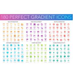 180 trendy perfect gradient icons set seo vector image