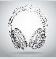 Abstract dotted headphones on white abstract vector