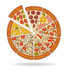 Background with pizza pieces and its ingredients vector