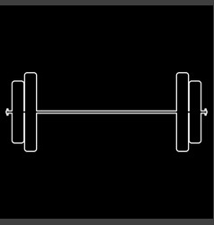 Barbell white path icon vector